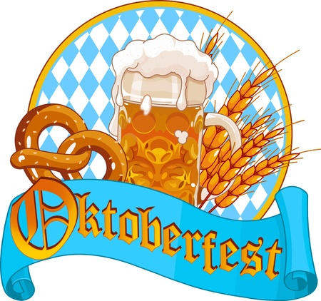 beer fest: Round Oktoberfest Celebration design with beer, pretzel and wheatears