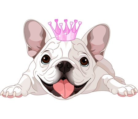 Illustration of royalty bulldog with crown Illustration