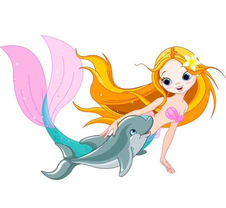 Illustration of cute mermaid swimming with dolphin