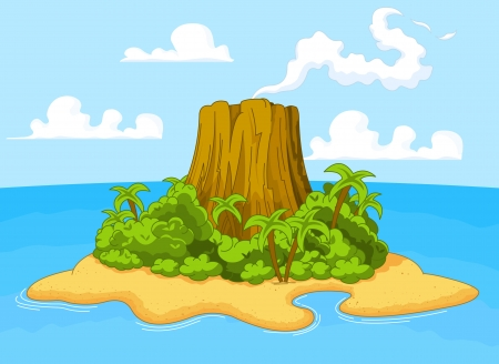 Illustration of volcano on desert island Çizim
