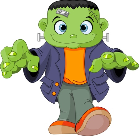 Halloween kid wearing Frankenstein costume Vector