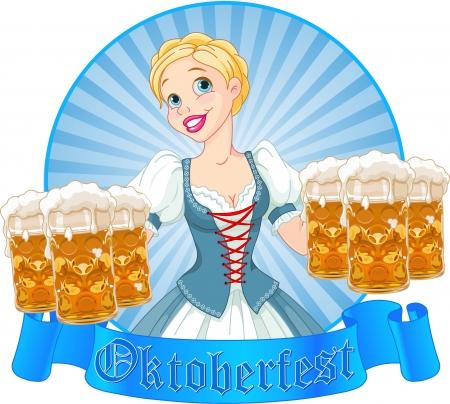 Funny German girl serving beer on Oktoberfest label Vector