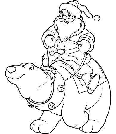 st  nick: Santa Claus riding on the back of a friendly polar bear
