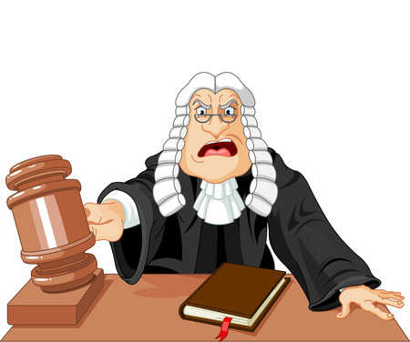 wig: Angry judge with gavel makes verdict for law