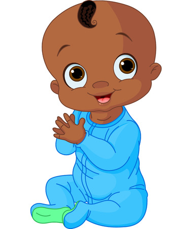 black baby boy: Illustration of Cute baby boy clapping hands Illustration