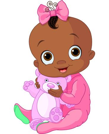 테디 베어와 함께 귀여운 아기 소녀의 그림