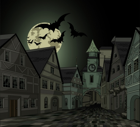 illustrated: Spooky Halloween night at town Illustration