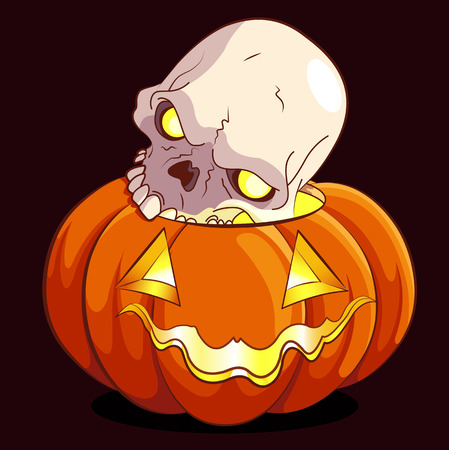 death s head: Halloween pumpkin and scull