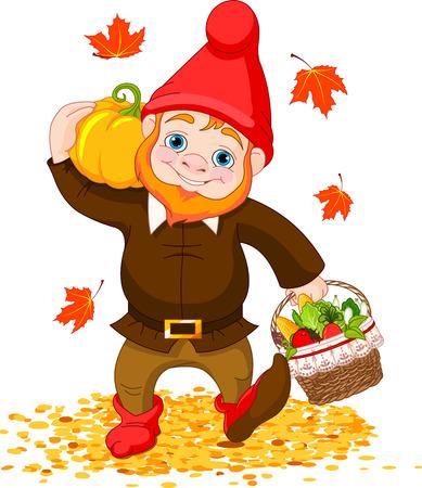 Illustratie van schattige Garden Gnome met oogst Stock Illustratie