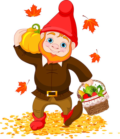 Illustration of cute Garden Gnome with harvest