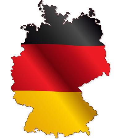 deutschland karte: Deutschland Flagge innerhalb der Landesgrenzen Illustration