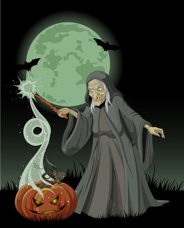 Halloween witch casts a spell over pumpkin Vector