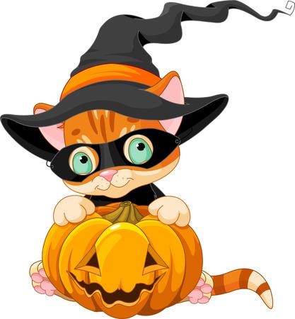 child sitting: Halloween red tabby kitten with pumpkin