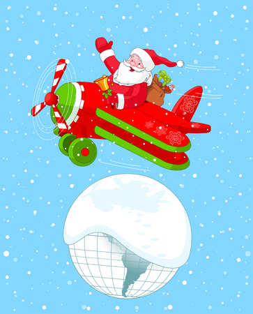Illustration of Santa Flying His Christmas Plane over the Earth Vector
