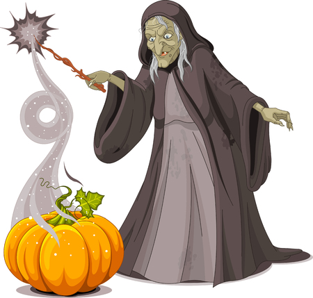 Witch casts a spell over pumpkin Vector