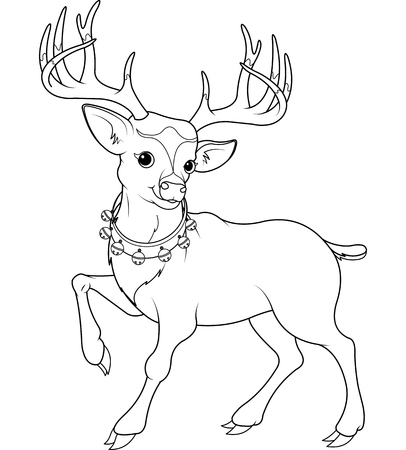 cartoon reindeer: Coloring page of  cartoon reindeer Rudolf Illustration