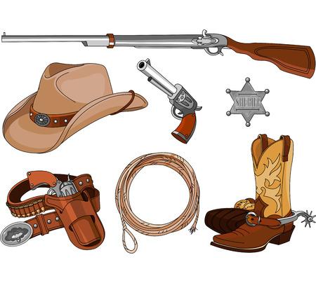 botas vaqueras: Varios objetos occidentales vaquero vendimia Conjunto