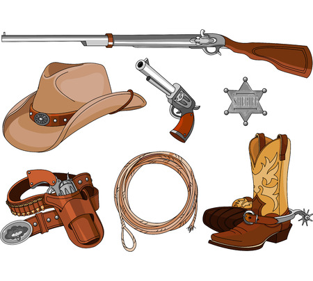 cowboy: Various vintage cowboy western objects set