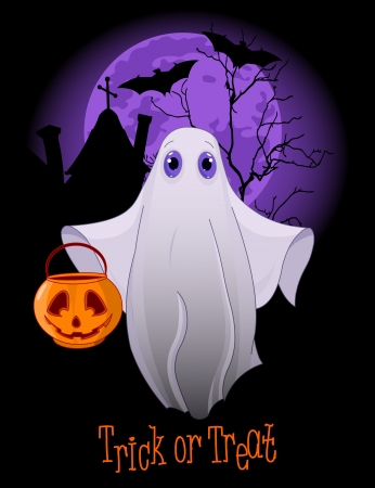 cute ghost: Halloween invitation  of  Trick or Treating Ghost