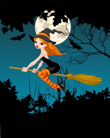 wicked witch: Halloween Witch flying on broom banner