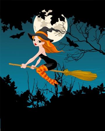 brujas caricatura: La bruja volando en una escoba bandera Vectores