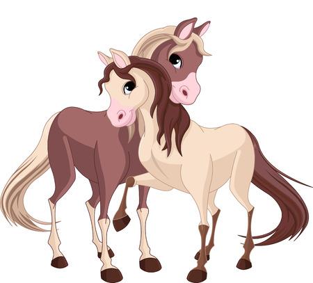 A pair of beautiful horses full of love Illustration