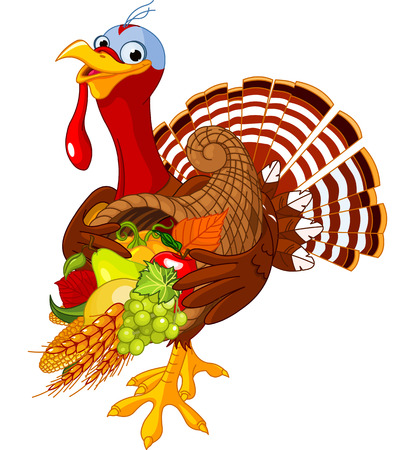 Funny turkey with horn of plenty Vector