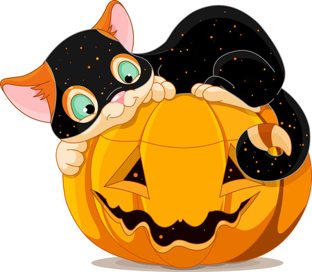 A cute kitten with Halloween costume, lying happily on a pumpkin