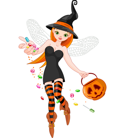 trick or treating: Illustration of trick or treating witch