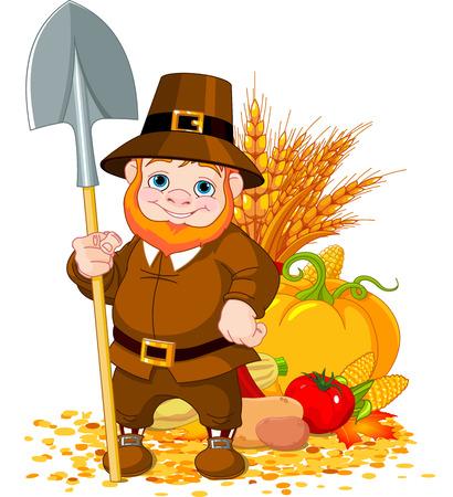 Illustratie van leuke pelgrim met spade