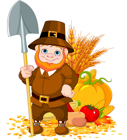 fall harvest: Illustration of cute pilgrim with spade