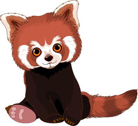귀여운 앉아 빨간 팬더 일러스트