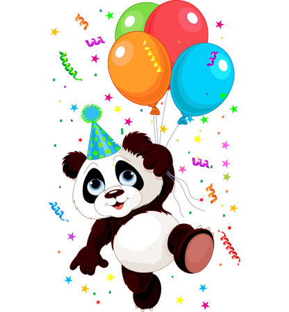 Funny panda flying with balloons Çizim