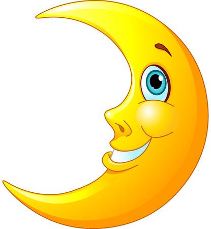 noche y luna: Ilustraci�n de una luna feliz con una sonrisa en su rostro