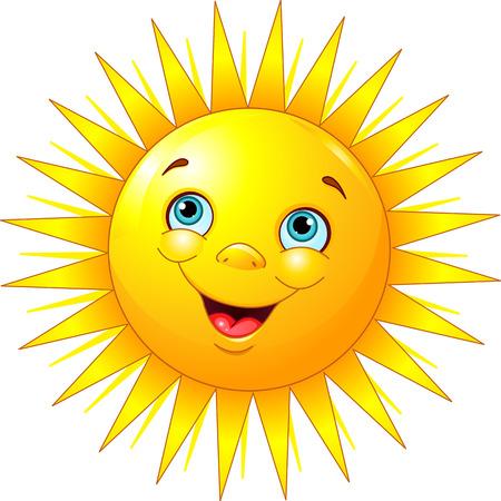 Illustratie van lachende zon karakter