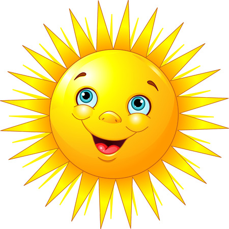 Illustration of smiling sun character Иллюстрация