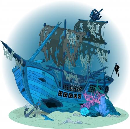 paesaggio mare: Subacqueo con vecchia nave Vettoriali