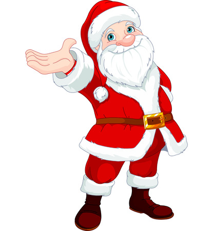 cute clipart: Cute  Santa Clause with his arm raised to present something, sing or announce