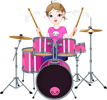 Teenager girl playing drums Illustration