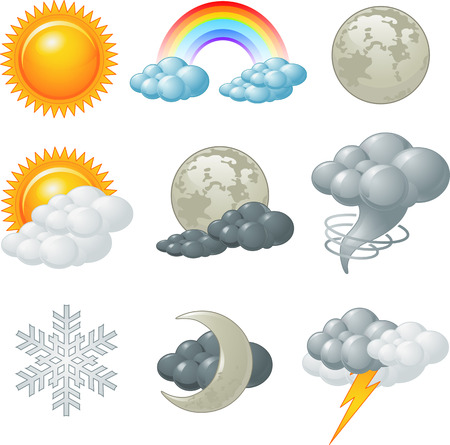 Nine weather related icons set Stock Vector - 23074568