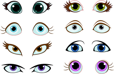 Set of cartoon eyes with different expressions Vector