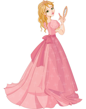 Illustration of fairytale princess putting on lipstick  Vector