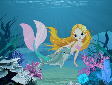 Cute mermaid swimming with dolphin