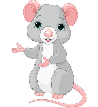 grey: Cute cartoon rat is pointing