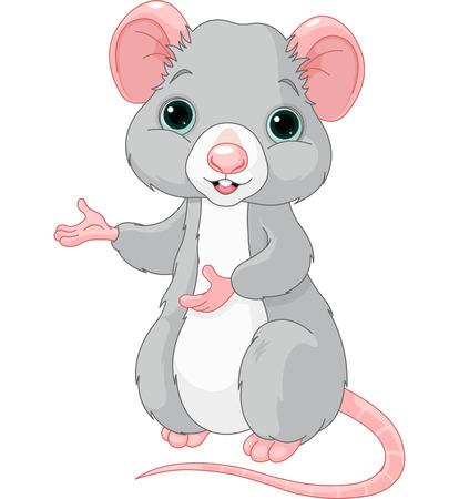 raton caricatura: Rata de la historieta linda está apuntando Vectores