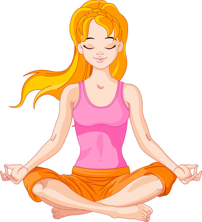 Beautiful girl doing yoga meditation Vector