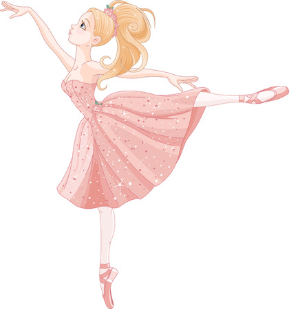 princess dress: Illustration of cute dancing ballerina