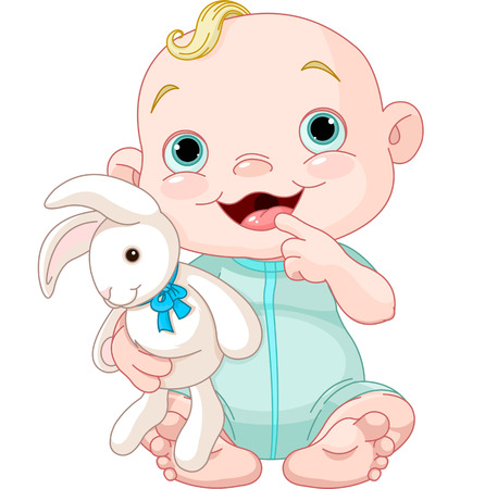 Adorable baby boy holding bunny toy Vector
