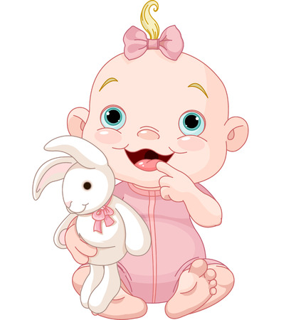 animals clipart: Adorable baby girl holding bunny toy