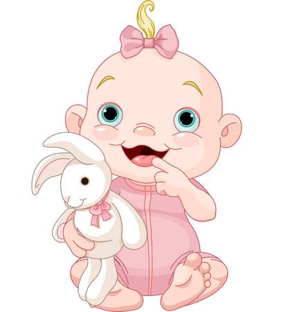 Adorable fille tenant lapin jouet bébé Banque d'images - 23290759
